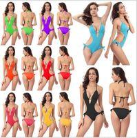 Wholesale Solid Colour Tie - Women's Sexy One-piece Swimsuit Swimwear Tie Side Padded One Piece Monokini Halter Cutout V-neck Swimsuit 8 Colour Option VS003