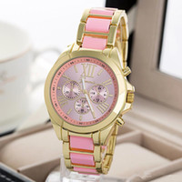 Wholesale Wholesale Women Colored Geneva Watches - 2015 Hot Geneva Watch Colored style Quartz watch fashion men's women Dress Bracelet Wristwatches Gold Stainless Wholesale DHL
