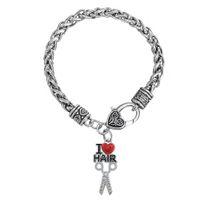 Wholesale Scissors Bangle - 20pcs lot Red Heart I Love Hair Scissor Shape Lobster Clasp Thick Link Chain Bangle For Handmade Jewelry (BA126515)