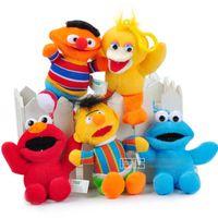 Wholesale Elmo Stuffed Keychain - 5pcs set Sesame Street Elmo Stuffed Plush Dolls Toys Keychain pendants Key Chain Doll 13cm Free shipping