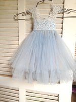 Wholesale Magic Wedding Dresses - Magic Orchid Light blue Flower Girl Dress French lace and tulle dress for baby girl blue princess dress tutu