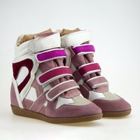 Wholesale Velcro Shoes Heels - The new European and American classic climbing Velcro slope with high-heeled leather sports shoes casual platform shoes