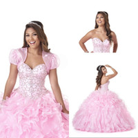 Wholesale Beautiful Prom Dresses Ball Gown - Beautiful Ball Gown Sweetheart Quinceanera Dresses Sweep Train Organza Crystal Beaded Lace Up Popular Prom Dresses New Quinceanera Gowns