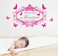Wholesale Custom Children Vinyl - Custom-made Girl Wall Stickers Princess Sleeps Here with your Personalized Name Vinyl Children Wall Decals Room Decor