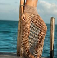 Wholesale Long Skirt Swimsuit - Summer Knit Beach Long Skirt Wear Mesh Swimsuit Cover Up Crochet Bikini Cover Ups Sexy Womens Maxi Skirt free shipping