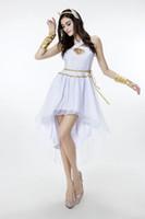 frauen griechische göttin kostüm großhandel-2018 Neue Ankunft Erwachsene Frauen Griechische Göttin Kleid Weiß Sexy Cosplay Halloween Kostüme Bühnenshow Kleidung Heißer Verkauf
