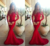 Wholesale Fiesta Sale - Hot Sale Vestidos De Fiesta Long Sleeves Lace Mermaid Evening Dresses Sweep train Lace Dubai Formal Prom Gowns 2017 New Reception Dresses