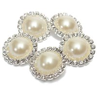 Wholesale Sewing Pearl Buttons - New Arrival 5 Pcs Bling Rhinestone Ivory Pearl Silver Tone Shank Round Button Sewing Craft order<$18no track