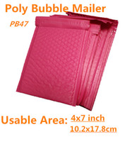 Wholesale Pink Poly Mailers - Wholesale-[PB#47]- Pink 150*230+40MM Usable space Poly bubble Mailer envelopes padded Mailing Bag Self Sealing [20pcs]