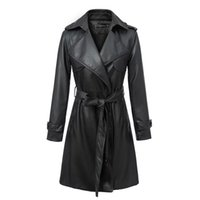 Gros-2015 British Style Leather Jacket Femmes Top Fashion Ladies Faux synthétique à double boutonnage long cuir Trench Coat Femme A2124