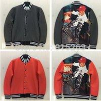 Wholesale Men S Red Jackets - NEW winter jacket men's Space cotton Baseball uniform skateboard star Red and black stripes men boy jacket and coat size S-XL