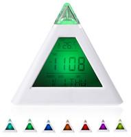 Wholesale Reloj Despertador Led - 7 LED Color Changing Pyramid Digital LCD Snooze Alarm Clock Triangle Thermometer C F relogio de mesa reloj despertador