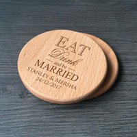 Wholesale Personalized Wedding Coasters - Personalized Wood Coaster Wedding Favor Custom Engraved Eat Drink and Be Married Wooden Table Coasters Round   Square Set of 25