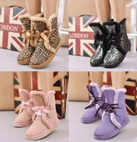 Wholesale Leopard Lined Boots - 2015 Winter Women's Leopard Print Snow Boots Lace Up Flat Shoes Velvet Lining