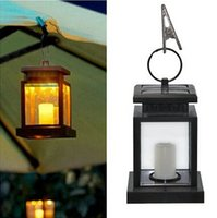 Wholesale Led Candle Lanterns - Vintage Solar Powered Lamp Waterproof Hanging Umbrella Lantern Candle Lights Led with Clamp Beach Umbrella Tree Garden Yard Lawn Lighting