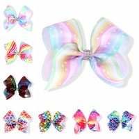 Wholesale Tie Dye Hair Ties - 24cs 5 Inch Jojo Bow Pastel Prints Jojo Siwa Style Hair Bows Tie Dye School Dancing Hair Accessories Cheer Bow for Sale