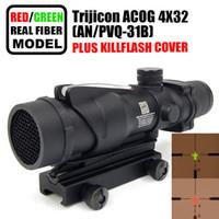 Tactical Trijicon ACOG 4x32 Fiber Optics Scope w  Real Red Green Fiber Crosshair Riflescopes come with Kill Flash