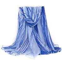 ingrosso pashminas blu-Rosa / Blu / Giallo! Nuove donne di modo scialli di Pashminas sciarpa di poliestere stampa a righe