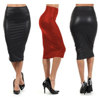 Wholesale Chiffon Knee Length Skirt L - New Fashion Women Sexy Black Faux leather Pencil Skirt High Waist pencil Skirt Short Party Dress-SV002497