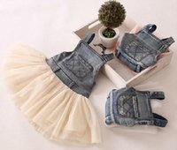 Wholesale Suspender Jeans Kids - 2016 New Children's Clothing Washed Denim Kids Jeans Suspender Dress Lace TUTU Tiered Tulle Strap Dresses Baby Girls's Cowboy Party Dress