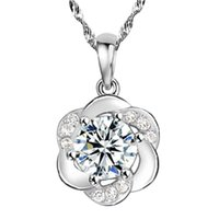 Wholesale romantic simple crystal clear cute round flower pendant necklace sterling silver jewelry