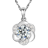 Wholesale simple cute necklace - Free shipping romantic simple crystal clear cute round flower pendant necklace 925 sterling silver jewelry