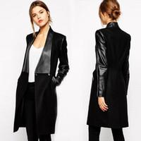 siyah uzun deri ceket toptan satış-Yün patchwork PU Deri palto Yaka Faux Eklenmiş İki Düğmeler Uzun Ceket Ceket Ince Dış Giyim Sonbahar Siyah S-XL WS66