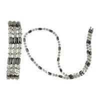 Wholesale Hematite Magnetic Wrap Bracelet - Wholesale-New Arriver 24'' 4-10mm Magnetic Hematite Clear Crystal Tibet Silver Beads Wrap Bracelet & Necklace Wholesale New Free