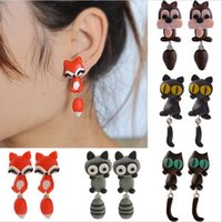 Moda all'ingrosso 100% Handmade Polymer Clay Cute Cat Red Fox Bella Panda Squirrel Tiger Animal Orecchini Ear Stud gioielli 5