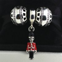 Wholesale halloween movies box set resale online - 100 Sterling Silver Charms and Murano Glass Bead Set with Charm Box Fits European Jewelry Charm Bracelets Toy Soldier Dangle