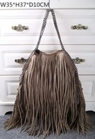 Wholesale Fringes Bag - Stella tassels bags Women's Falabella Faux Suede chains bag high quality Two Fringe Shoulder Bags , Size: W35*H37*D10CM