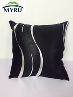 Wholesale Hotel Office Supplies - Wholesale- Pillow Case New arrival beautiful black and silver pillow case Waist Pillowcase Home Office Coffee shop Supplies 45x45cm