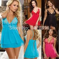Wholesale Sexy Black Dress Red Underwear - Wholesale-Sexy Lingerie Nightwear Underwear Women Sleepwear Babydoll+G String Lace Dress