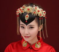 Ancient Tiara Style Chinois Robe de mariée en marbrure Headband Pearl Crowns Accessoires pour cheveux Fashion 2016 Pageant Jewelry Vintage Party Gold