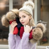 Wholesale Big Muff - Baby knit beanie children faux fur big pompon stripe knitting caps winter children cute ear caps fashion mother and kids warmer hat R0668