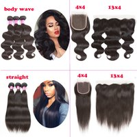 Wholesale Braziian Hair - New Arrival Body Wave Straight 4x4 Lace Closure With 3 Bundles Braziian Virgin Hair Body Wave Straight with Ear to Ear Lace Frontal