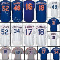 Wholesale Darryl Strawberry - stitched #34 Noah 18 Darryl Strawberry jersey Men 31 Mike Piazza 48 DeGrom 52 Cespedes 16 Gooden 17 Hernandez Baseball Jerseys