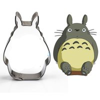 Wholesale wholesale gum paste - 2pcs Amine Totoro Stainless Steel Cookie Cutter Bisecuit Fondant Sugarcraft Cake Cutters Paste Gum Moldes Metal Cupcake Toppers