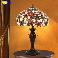 FUMAT Glass Art Lamp Living Room Dormitorio Bedside Table lamp Maple Leaf Warm Stained Glass Decorativas Luces de mesa