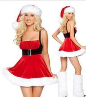 Wholesale Sexy Female Santa Costumes - New Christmas Dresses Women Off The Shoulder Women Sexy Dresses Party Night Club Dress Free Shipping
