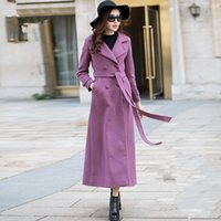 Женщины Wool Trench Coat Lady Purple Slim X-Long Пальто Женское Плюс Размер Outwear Girls Split Maxi Blends Coat 2018 Spring Women Clothing W277