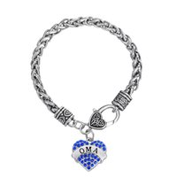 Wholesale Handmake Bracelet - Personalized Unique Fashion Handmake Endearing Heart Colorful Plated Rhinestone Initial OMA Pendant Charms DIY Jewelry Accessory