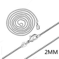8fac948a11 2018 Hot sale 20pcs lot 925 sterling Silver 2MM Box Chain Necklace 16