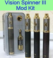 Wholesale E Cigarette Variable Kit - Vision Spinner 3 Mod kit Carbon battery e-cigarettes variable voltage Vision Spinner III protank 2 atomizer vapors