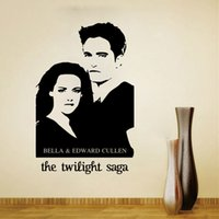 Decoración Crepuscular Baratos-Bella y Edward Cullen Wall Art Mural Poster Decal Sticker Película Clásica Crepúsculo Wallpaper Decoración Decoración Home Art Decal