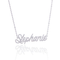 """Wholesale Stainless Steel Personalized Necklace - No custom ,14K Gold Plating Stainless Steel Personalized Name necklace """" Stephanie """" Charm Nameplate Necklace Jewelry gift NL-2430"""