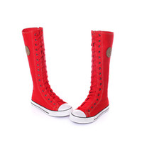 Wholesale Punk Knee High Sneakers - Wholesale-Free Shipping Hot Sale Ladies Girls Canvas Boots Women Punk EMO Knee High Sneakers Fashion Causal Shoes Gothic lace-up Boots