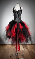 Wholesale Gothic Evening Dresses - Gothic Red and Black Corset Prom Dresses Custom Size Feather and Tulle Burlesque Hi Lo Party Dress with Halter Neck 2015 Evening Gowns