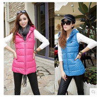 Wholesale Long Hooded Down Vests - 3XL Autumn and winter plus size Women vest PU with a hood vest leather jacket waistcoat slim down cotton vest women SC7097