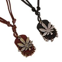 Wholesale fashion id necklaces - Tide Jewelry Punk Necklaces Retro Man Leather Necklace Fashion Alloy Maple Leaf ID Tags Pendant Necklaces Unisex charm necklaces